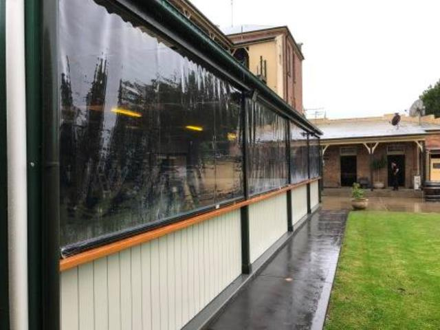 Neath Hotel - Outdoor Ziptrak Blinds installed by East Coast Shade Design