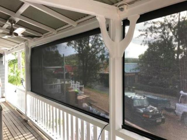 Outdoor Ziptrak Blinds installed by East Coast Shade Design at Cafe Wollombi