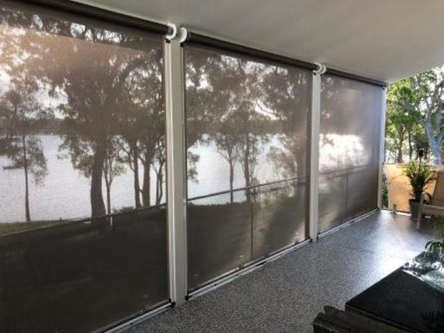Outdoor Ziptrak Blinds installed by East Coast Shade Design at Brightwaters Lake Macquarie