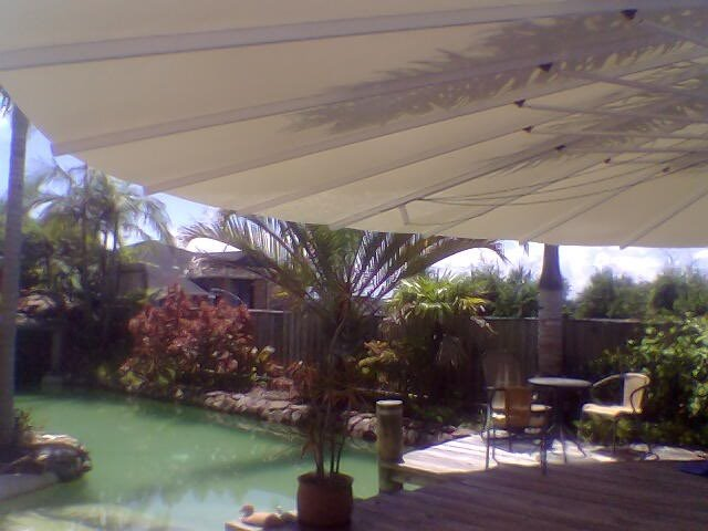 Seashell awning installed at Fishing Point by East Coast shade Design