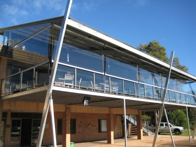 Commercial Outdoor Blinds Clear PVC - installed at Hunter Wetlands by East Coast Shade Design
