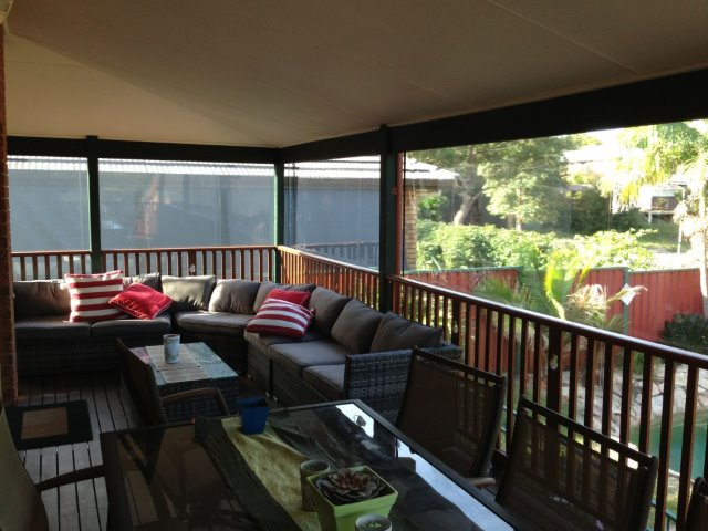 Clear PVC Outdoor straight drop blinds installed at Fern Bay