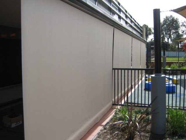 Straight Drop Outdoor Blind at Carrs Park, Sydney installed by East Coast Shade Design