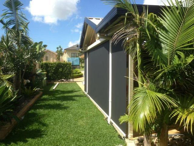 Outdoor Blind Alpha Series straight drop installed at Wallarah by East Coast Shade Design