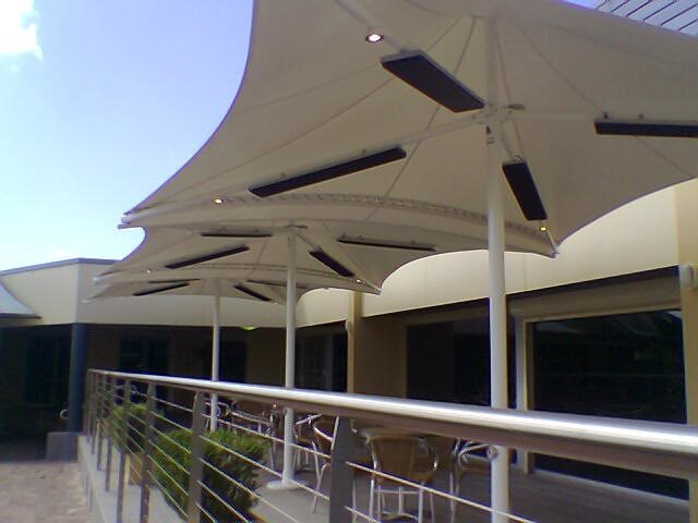 Outdoor Umbrella -- Skyspan Sunset model installed in Cabramatta by East Coast Shade Design