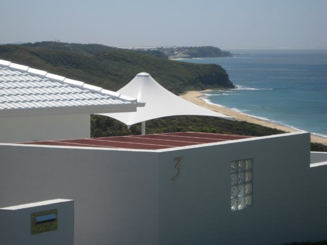 Outdoor Umbrella -- Skyspan Sunset model installed in Dudley Newcastle by East Coast Shade Design
