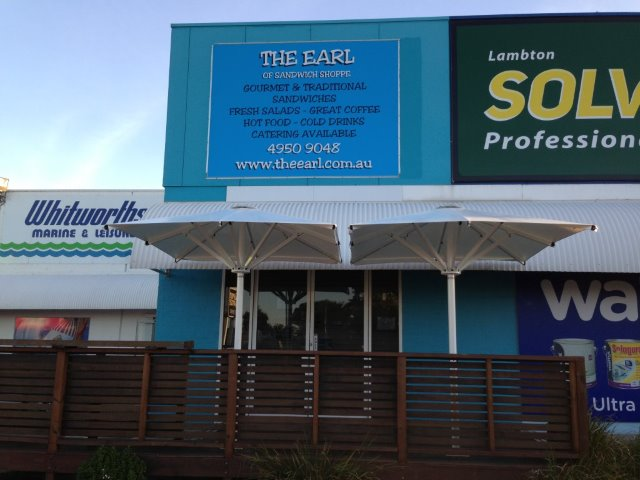 Commercial Outdoor Umbrella installed at Broadmeadow Newcastle by East Coast Shade Design