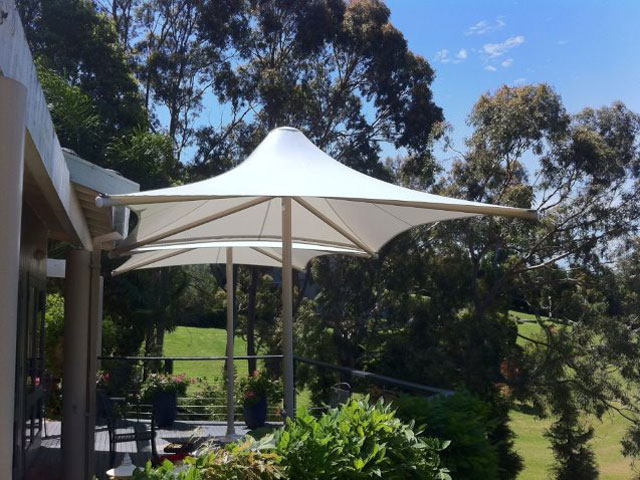 Skyspan Umbrella installed at Avoca by East Coast Shade Design